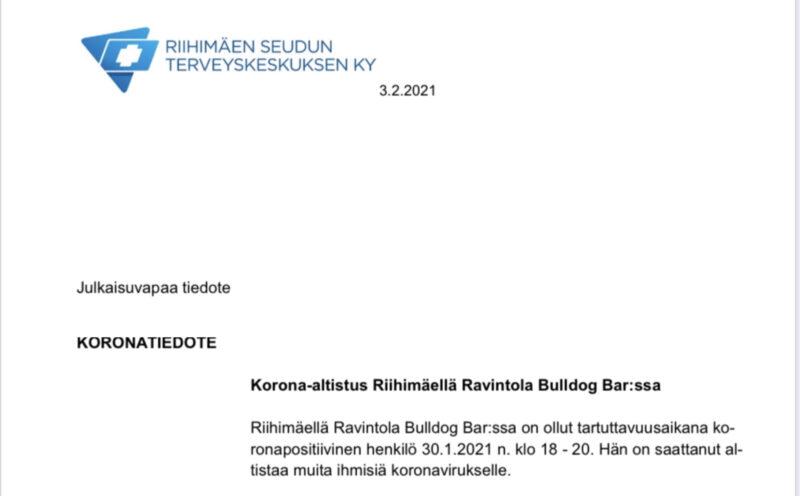 Korona-altistus Riihimäellä Ravintola Bulldog Bar:ssa